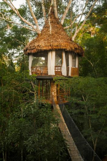Guests of the Treehouse Lodge Resort in Peru sleep above the forest canopy.  PHOTOGRAPH COURTESY TREEHOUSE LODGE