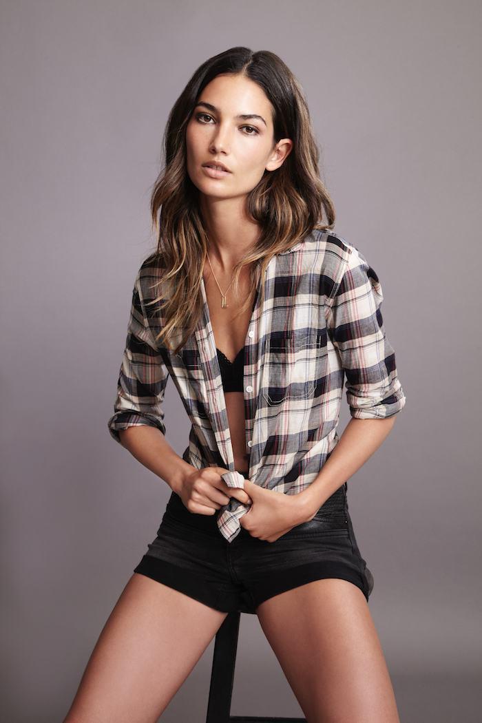 lily aldridge for velvet | treschicnow.com | spring 2014 | #fashion #lilyaldridge #plaid