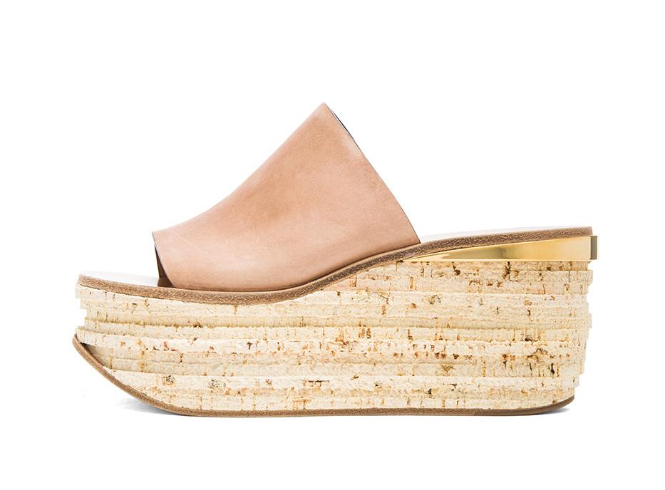 chloe leather cork wedge mules | treschicnow.com #shoes #spring