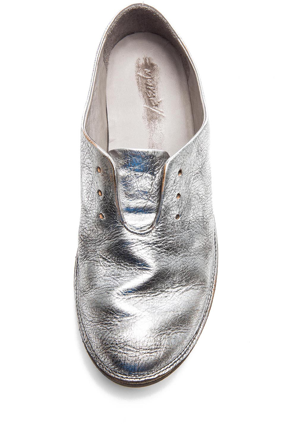 Marsell Strasacco Metallic Leather Oxford | treschicnow.com #chic #shoes #silver