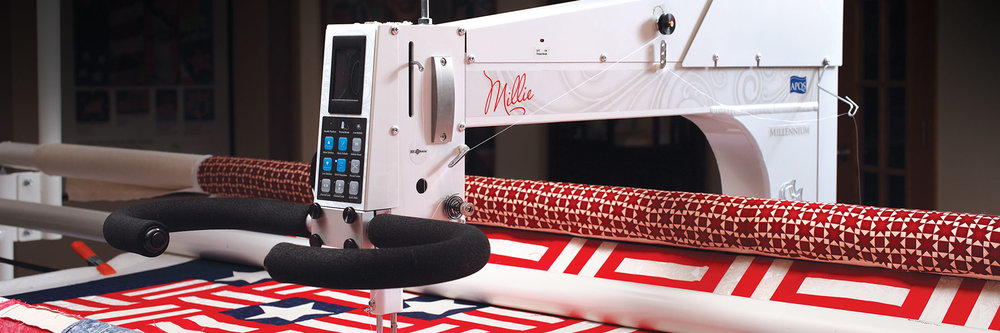 Millie  Combining innovation and engineering with timeless design, the Millie defines the high-end longarm quilting machine market. By embracing technology and blending it with the traditional skills of master craftspeople, we are able to produce this timeless, treasured longarm machine that will bring you a lifetime of quilting enjoyment.