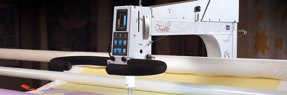 Freddie  The simple, easy-to-use controls combined with its lightweight handling make Freddie the perfect quilting machine for homes, quilt studios or commercial quilt shops. Freddie is a high quality, technology-filled machine that will bring you a lifetime of quilting enjoyment.