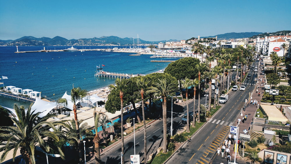 La Croisette, the famous Cannes beachside boulevard that leads you to right to Cannes Lions