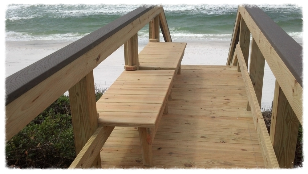 Beach Access Boardwalk With Bench