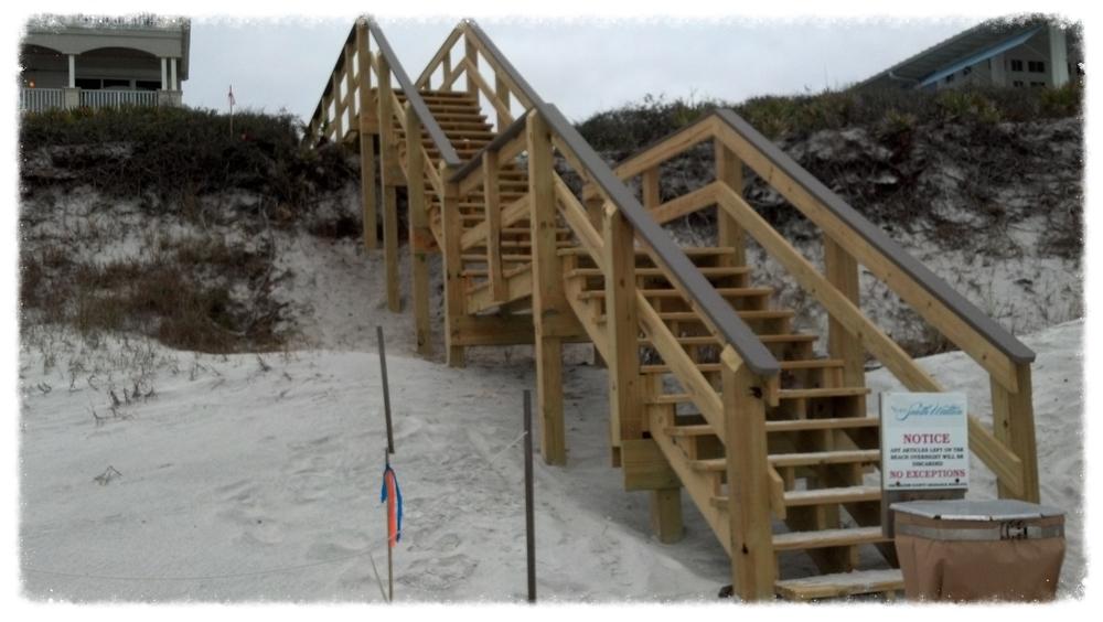 Wooden Boardwalk Stairway
