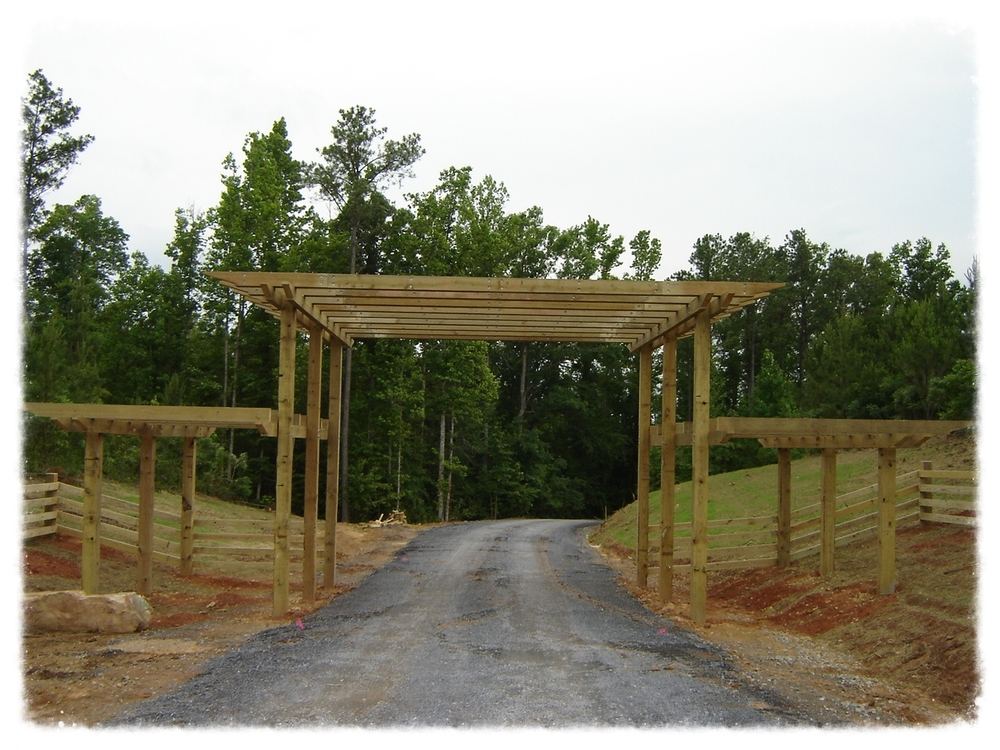 Pergola Entrance and Wood Fence