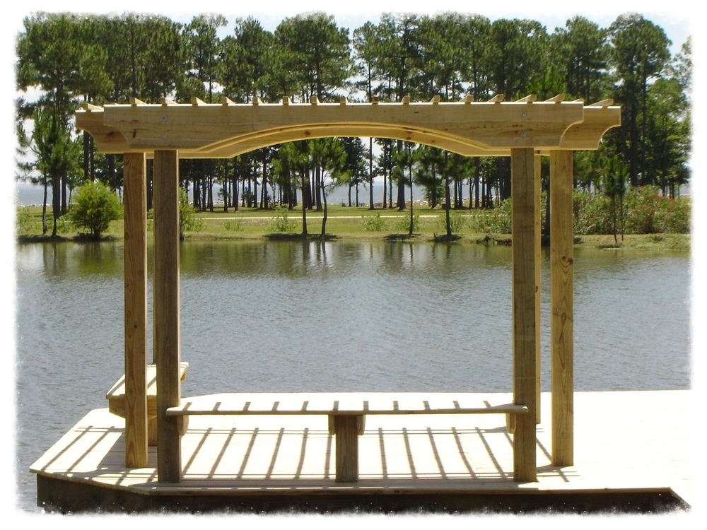 Pergola with Bench on Boardwalk
