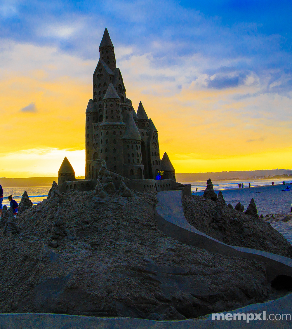Coronado Sand Castle (2) Sunset 2014 WM.jpg