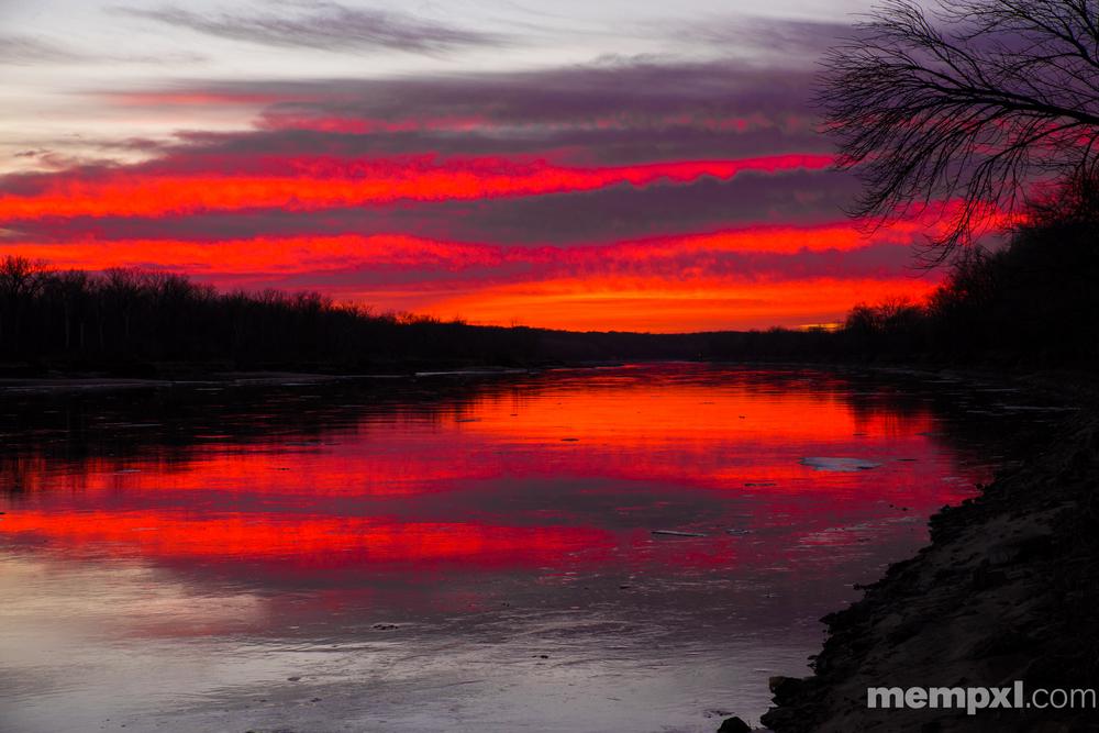 Red Missouri River Sunset 2015 WM.jpg