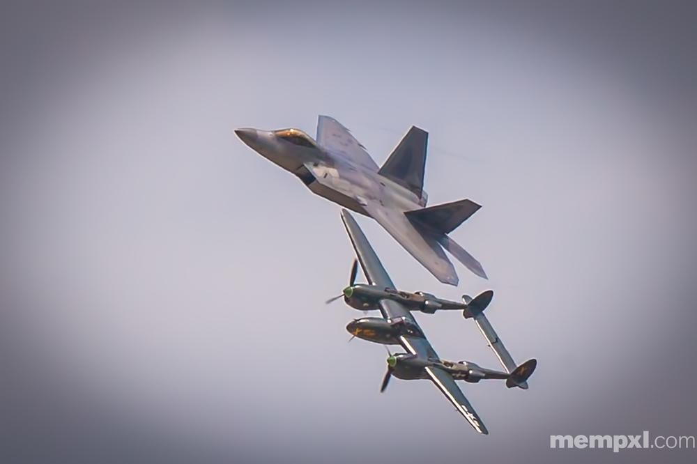 F-22 Raptor n P-38 (2) Offutt AFB  2014 WM.jpg
