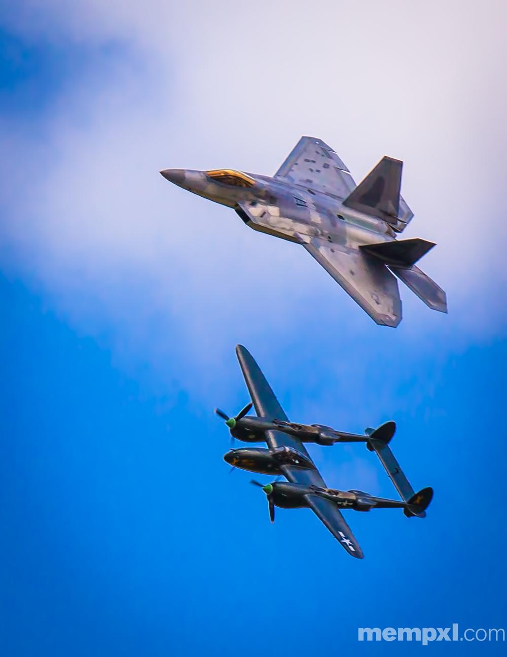 F-22 Raptor n P-38 (3) Offutt AFB  2014 WM.jpg