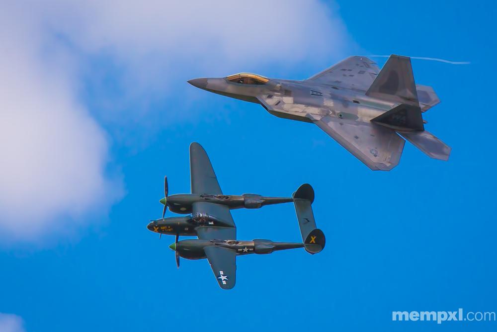 F-22 Raptor n P-38 Offutt AFB  2014 WM.jpg