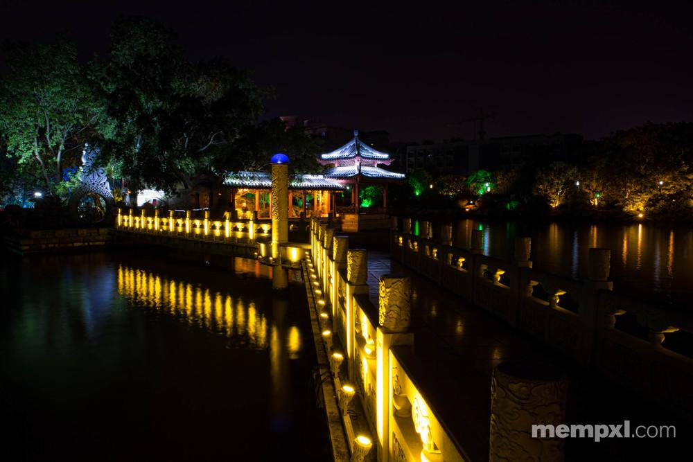 Li River path Bridge n  Pagoda at night - Guilin April 2015.jpg