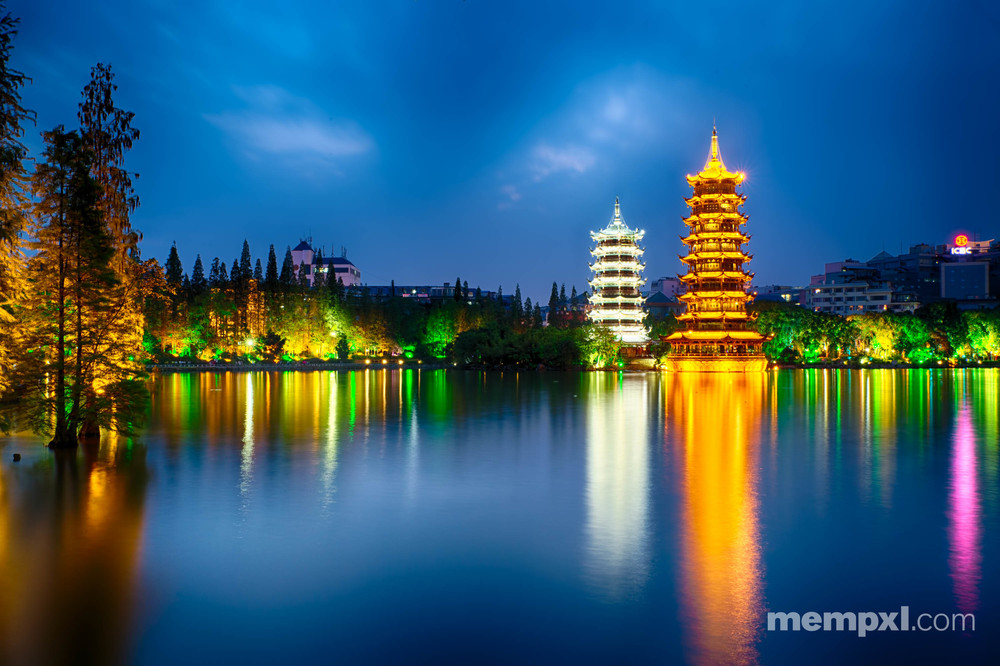 Moon & Sun Pagoda at night - Guilin April 2015.jpg
