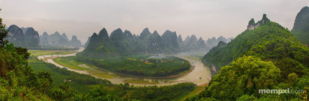 Li River view Pano2 - Afternoon climb Xingping April 2015 WM.jpg