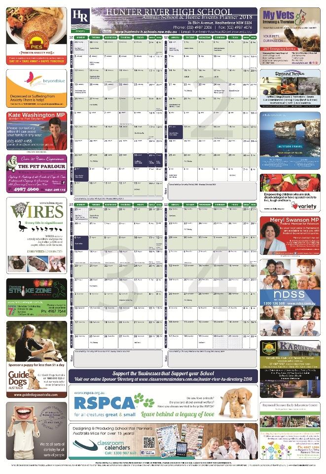 Hunter River High School 2018 Events Planner