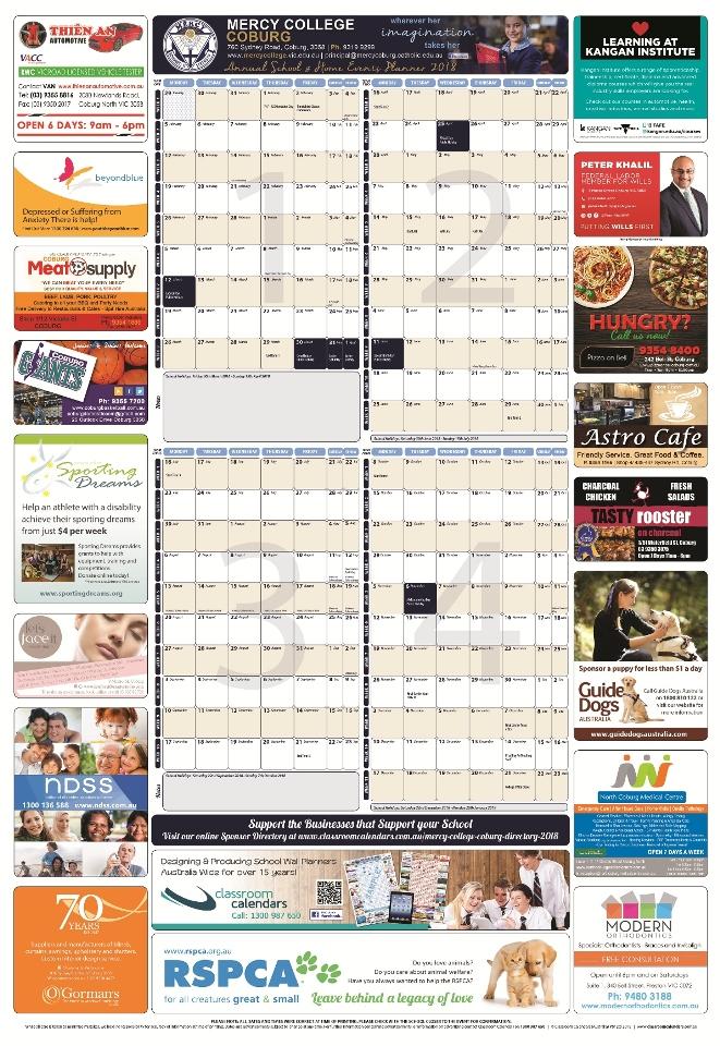 Mercy College Coburg 2018 Events Planner