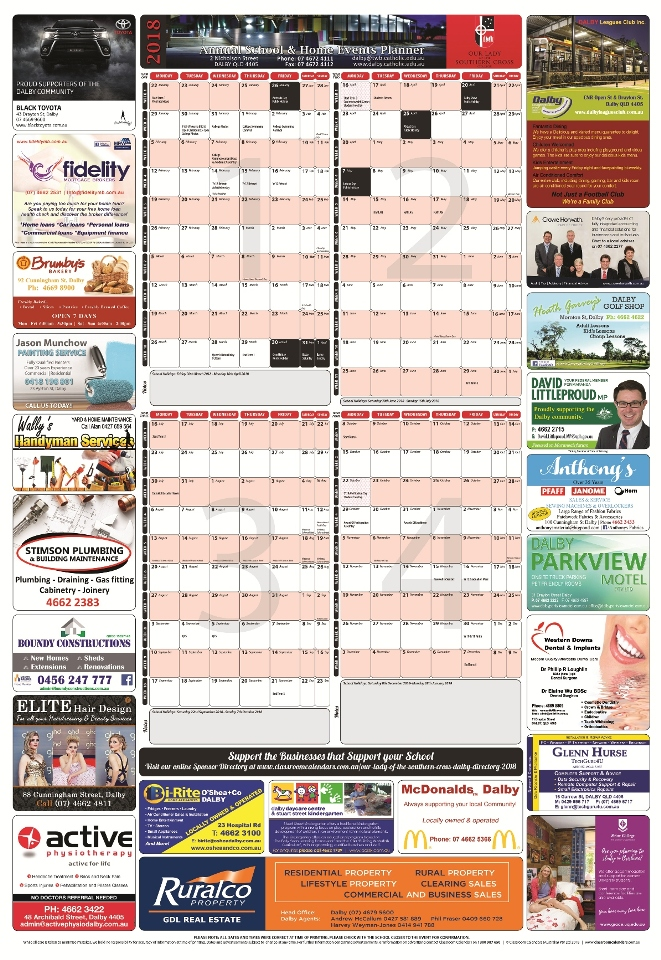 Our Lady of the Southern Cross College 2018 Events Planner