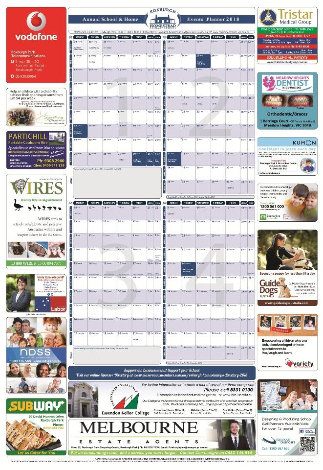 Roxburgh Homestead Primary School 2018 Events Planner
