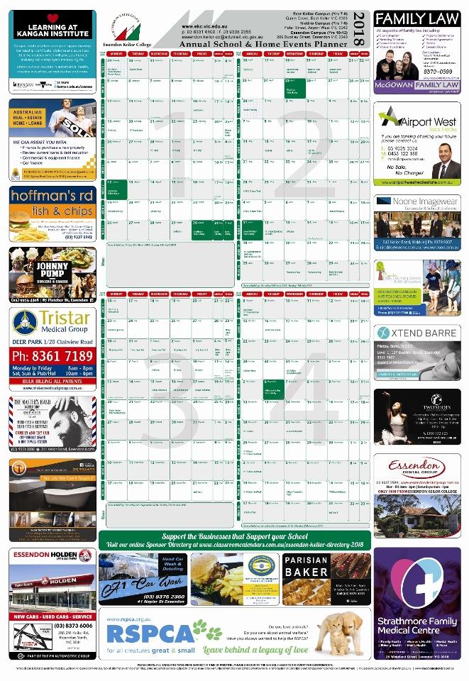 Essendon Keilor College 2018 Events Planner