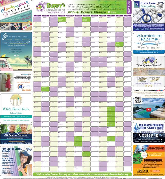 Guppy's Early Learning Centre - Thornlands 2018/2019 Events Planner