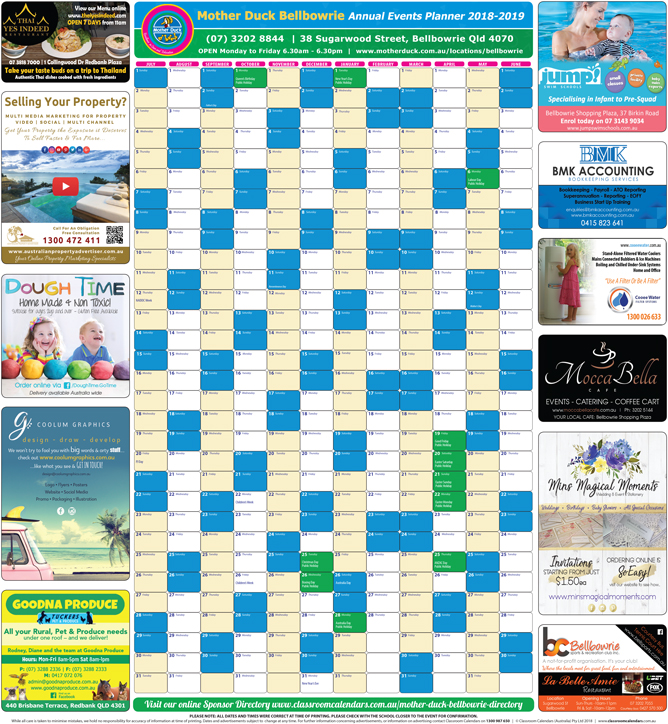 Mother Duck Bellbowrie 2018/2019 Events Planner