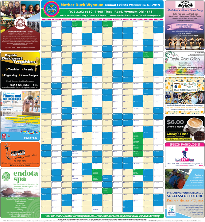 Mother Duck Wynnum 2018/2019 Events Planner