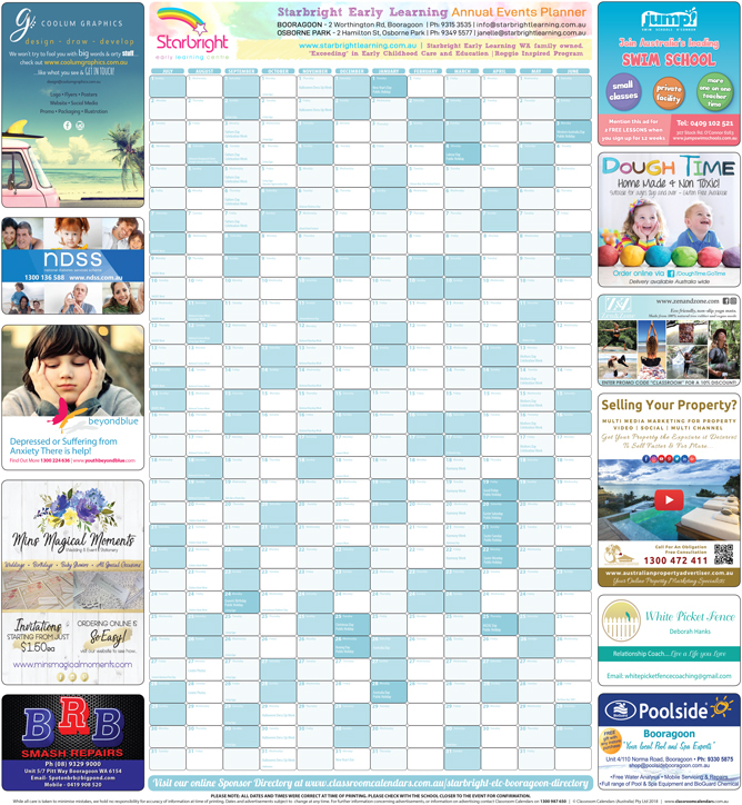 Starbright Early Learning Centre - Booragoon 2018/2019 Events Planner