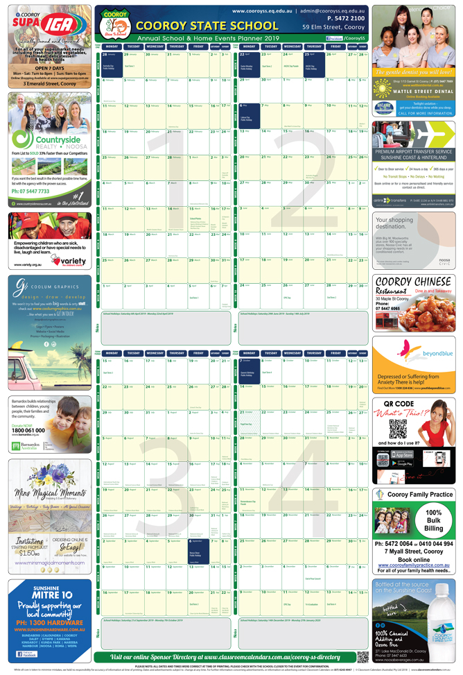 Cooroy State School 2019 Events Planner