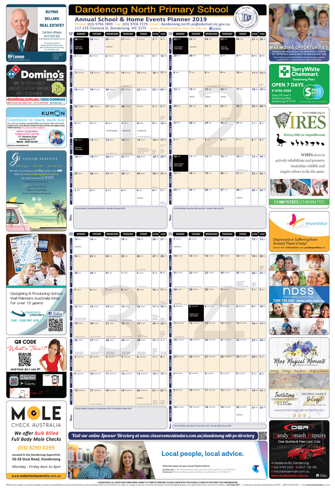 Dandenong North Primary School 2019 Events Planner