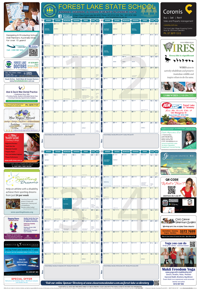 Forest Lake State School 2019 Events Planner
