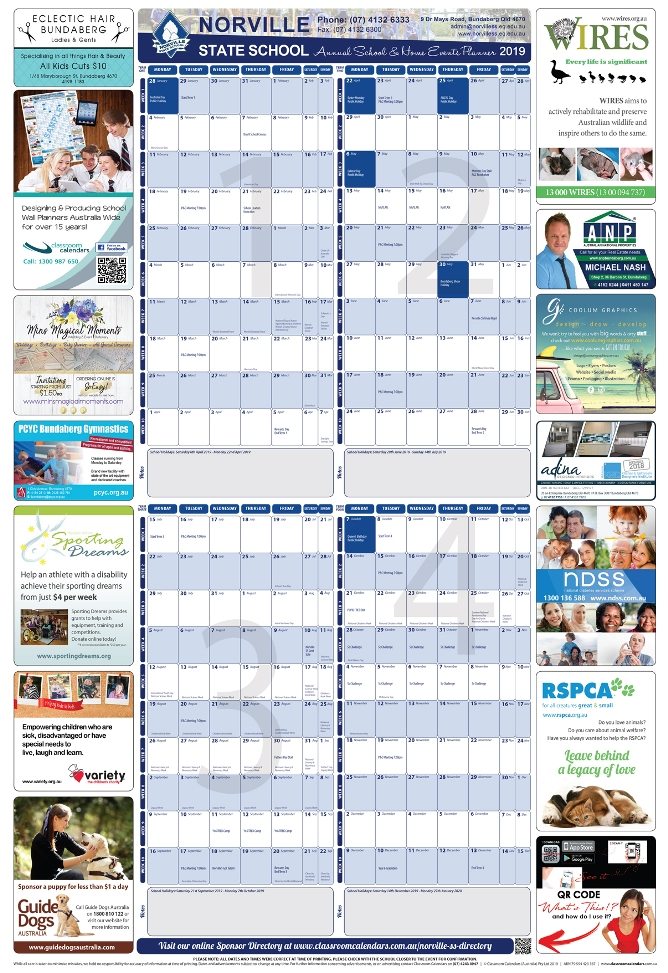 Norville State School 2019 Events Planner