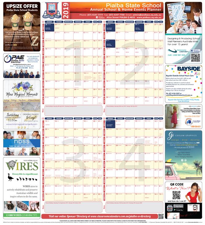 Pialba State School 2019 Events Planner
