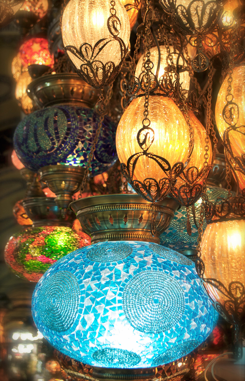 turkish mosaic chandelier at the grand bazaar in istanbul, turkey