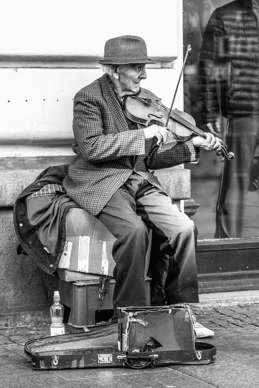 a street musician in belgrade, serbia