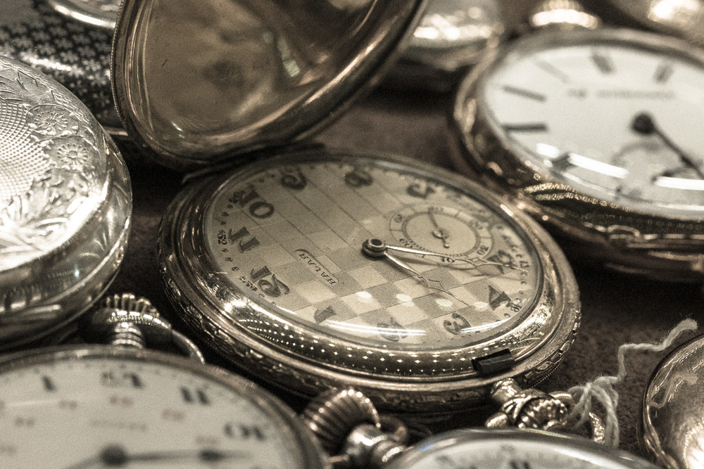 vintage pocket watches at the grand bazaar in istanbul, turkey