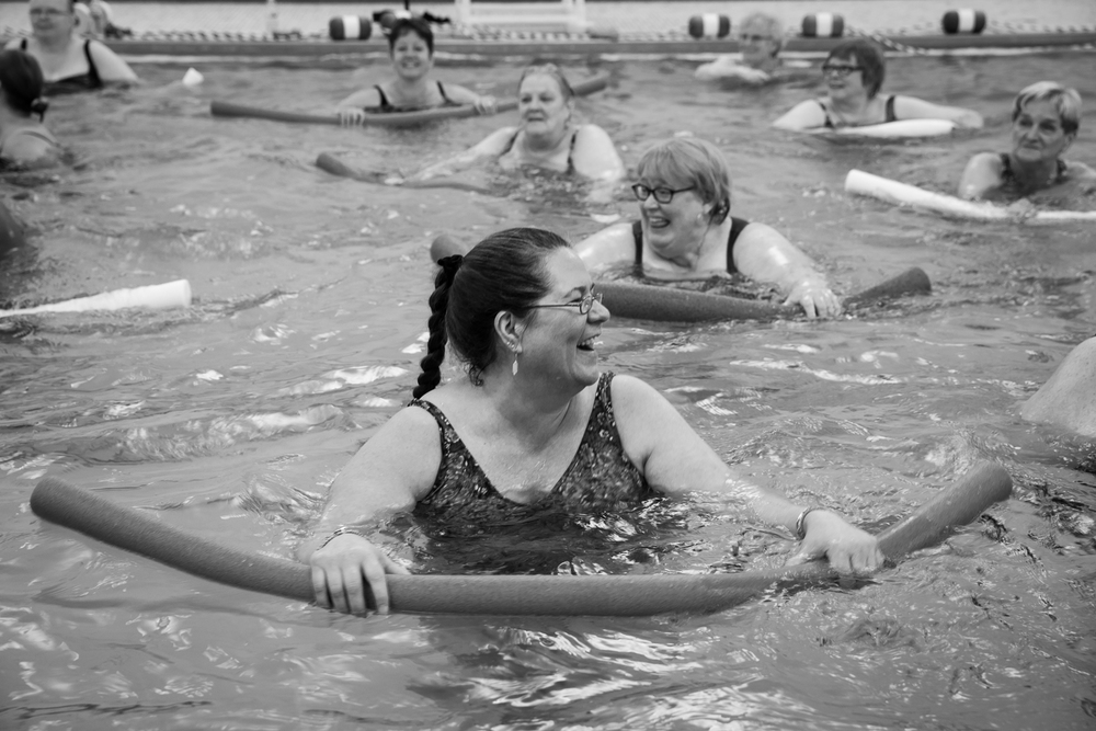 the Y diana and her caretaker participate in water aerobics together and have made friends with the group of women that come from the surrounding area for exercise and a sense of community. my mother, once a social and outgoing person, has lost much of her confidence as a result of her impaired memory. it is rare to observe her experiencing unadulterated happiness, allowing her inhibitions to fall away.