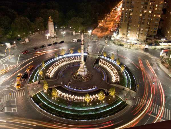 At night Columbus Circle makes its mark.