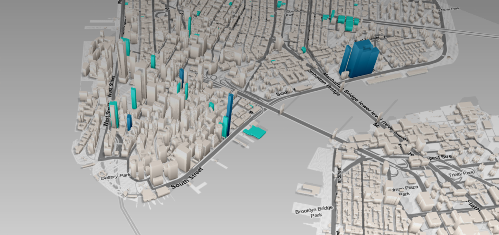 This interactive map lets you see what buildings are rising in your neighborhood. Pictured here: Lower Manhattan. (Screenshot via DNAinfo)