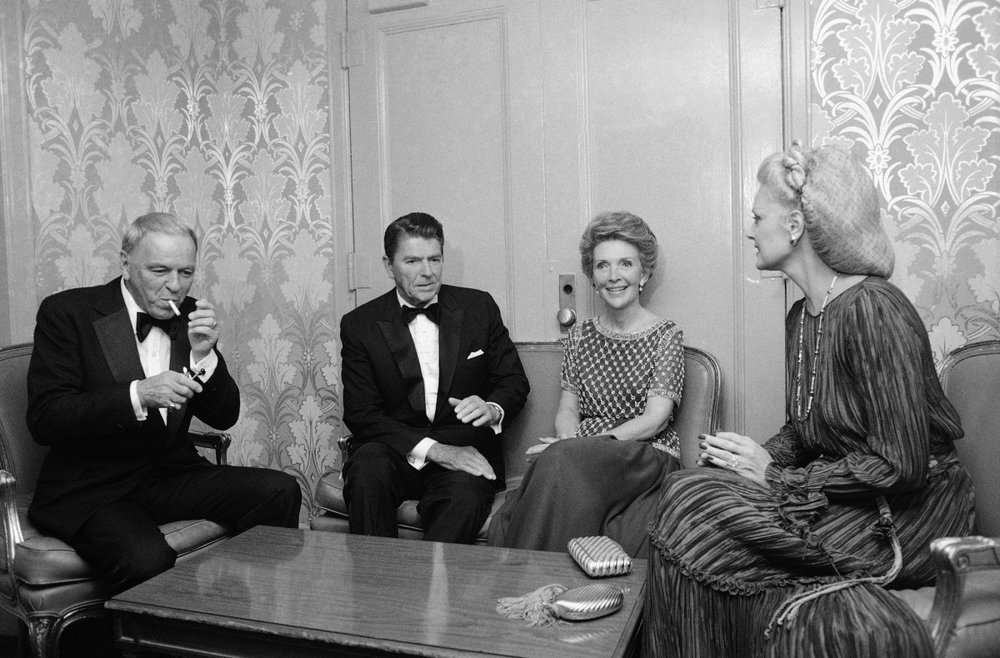 Frank Sinatra, far left, and Barbara, his wife, far right, with President Ronald Reagan and Nancy, his wife, before a reception at the Waldorf Astoria on September 30, 1980.Charles Harrity/AP Images