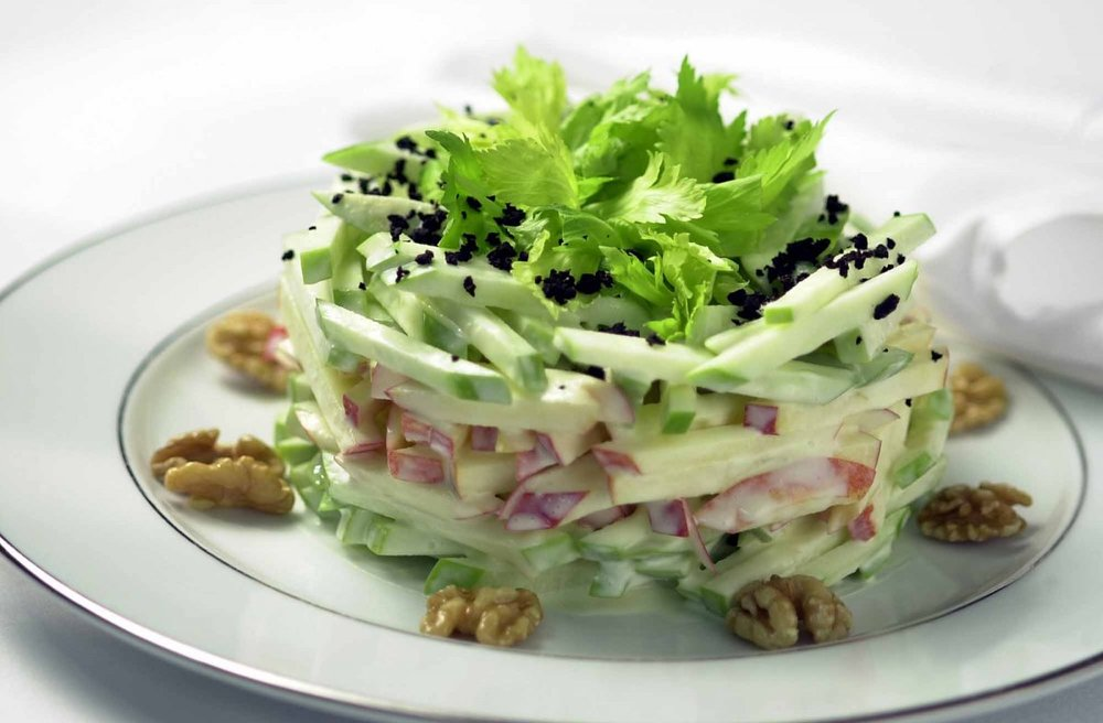 The Famous Waldorf Salad, which typically contains apples, mayonnaise, celery, and walnuts. Photo Courtesy of The Waldorf Astoria