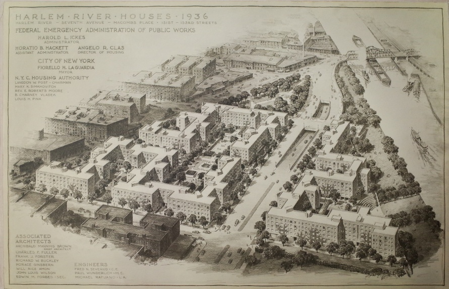 "Harlem River Houses, 1936–1937; Perspective Rendering, Copy; Paper, 18"" x 30""; Ginsburn, Box DR 336, Folder 1, Avery.jpg"