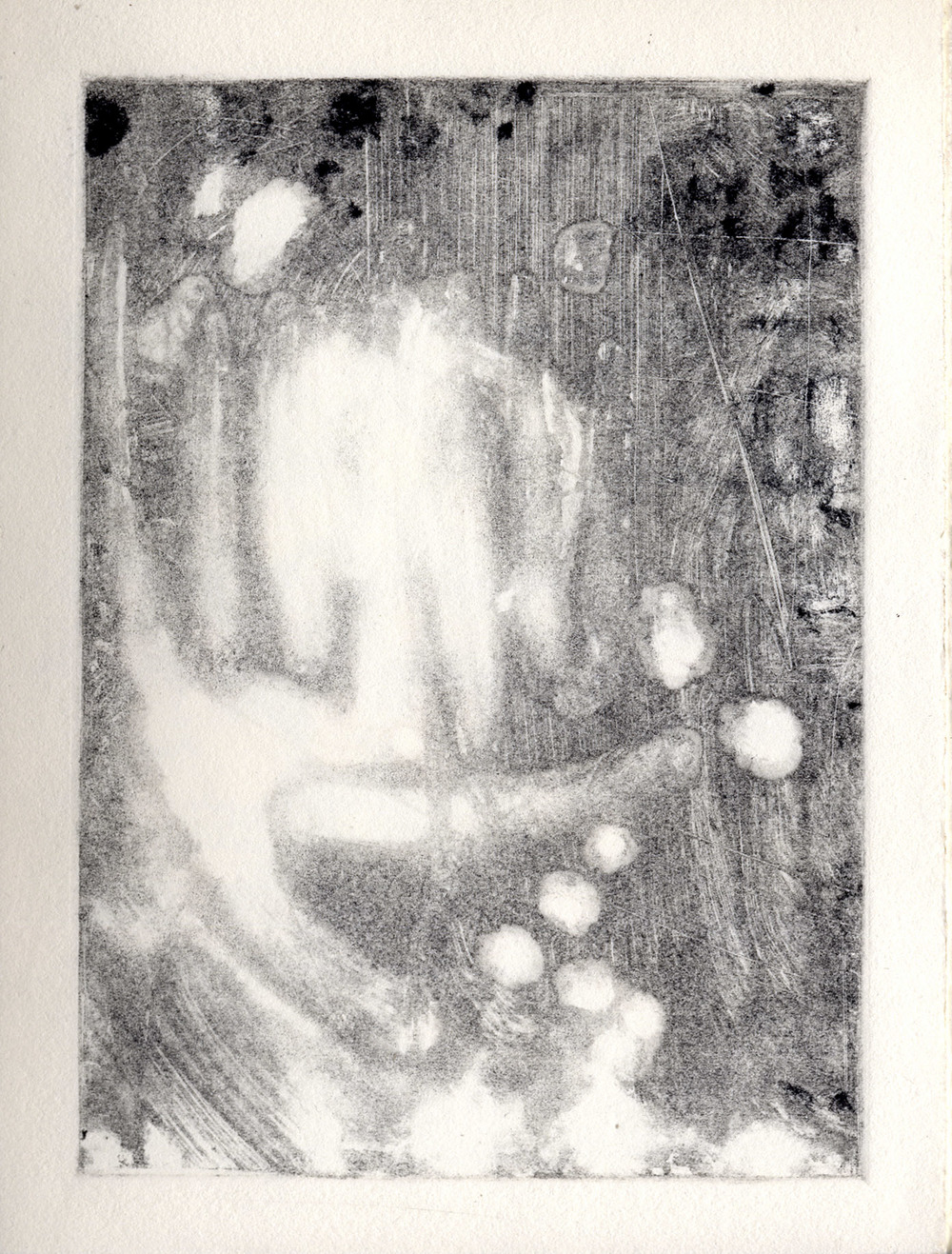All the Little Live Things, page 9 monotype, etching ink on Rives BFK Lightweight
