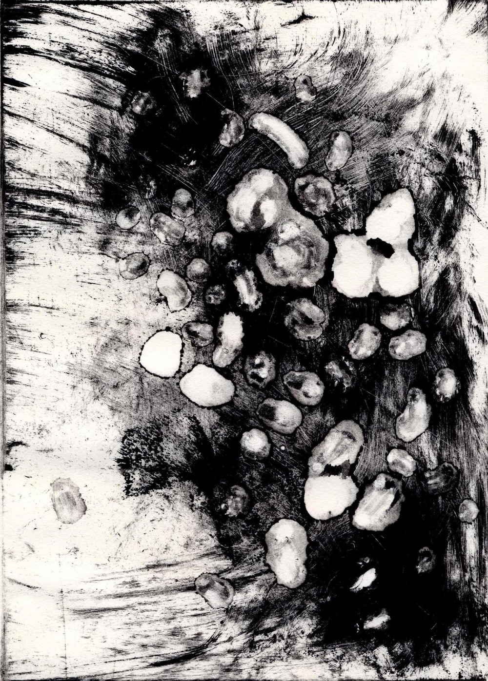 Us, No. 7  monotype: etching ink on Rives BFK Lightweight Off-White paper; compositions: 20 x 14.5cm; pages: 31.5 x 24cm