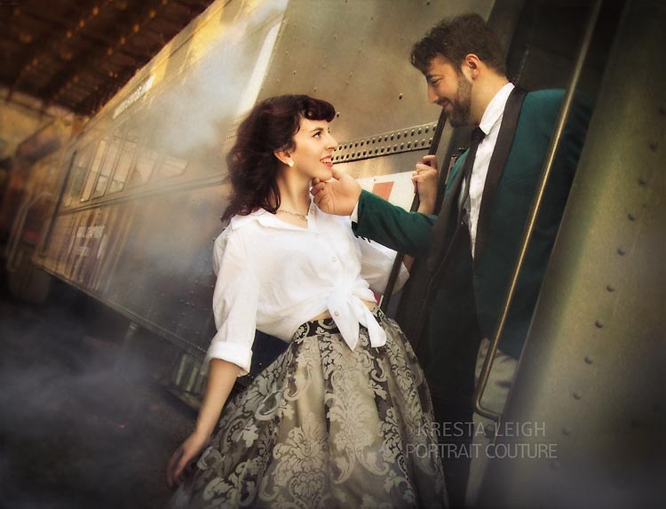 vintage wedding and train engagement
