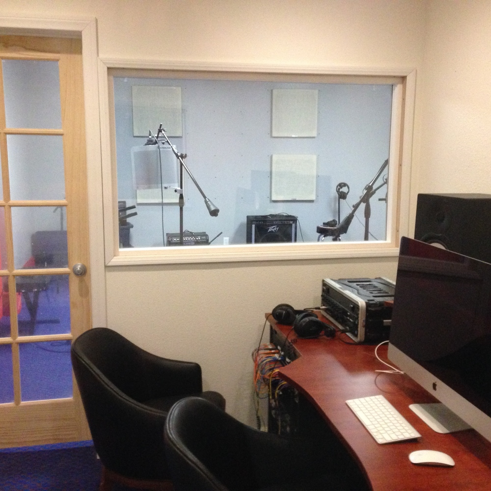 Our recording studio is capable of recording single vocal tracks or full bands at a time.