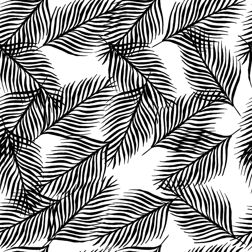 Fallen Palm Leaves White Wallpaper AutumnStore