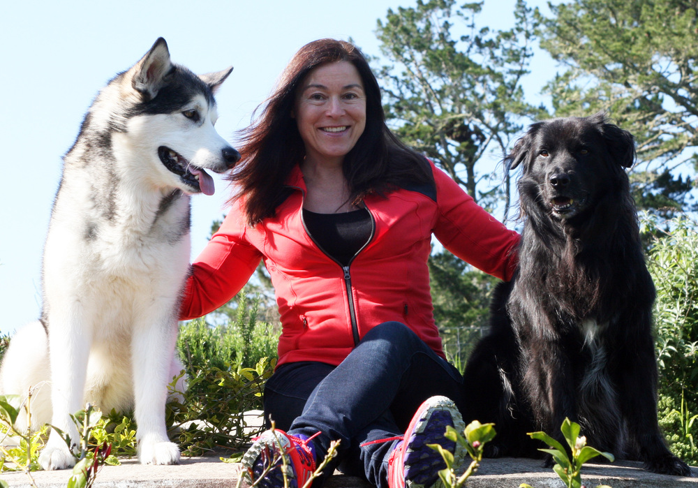 Angelika Cawte with her dogs Moko, an Alaskan Malamute girl (left) and Frankie, a Border Collie cross boy (right)