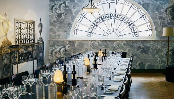 Elegant dinner table setting at Grace Hall venue London.