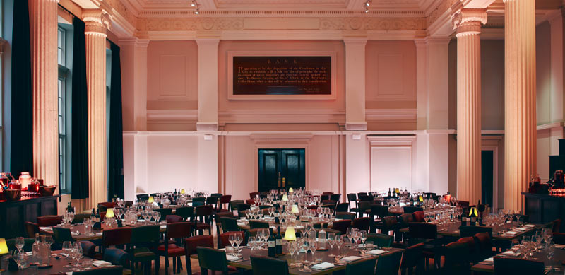 Grand wedding dinner tables at Grace Hall London